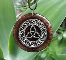 Triquetra Pendant in Burnt Oak, Pagan Wicca Spiritual Celtic Knot Power of Three