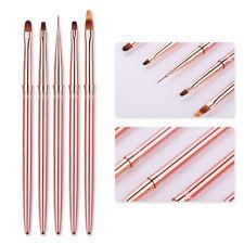 Painting UV Gel Nail Liner Brush Rose Gold Handle Nail Art Pen Drawing DIY Tool