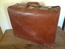 Vintage Leather Luggage Suitcase Corbin Sesamee Old Distressed linen lining lock