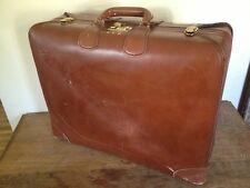 Vintage Leather Luggage Suitcase Corbin Sesamee Old Distressed linen lining lock