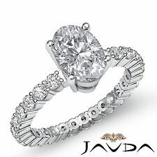 Oval Diamond Eternity Style Solid Engagement Ring GIA F VS2 14k White Gold 1.8ct