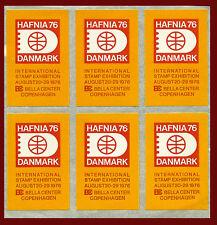 DANMARK. HAFNIA'76. Sheet of 6 labels.