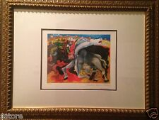 """Picasso's Lithograph Limited Edition """"Bull Fight, Death of a Torreador"""" Framed"""