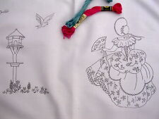 Embroidery Tray Cloth Crinoline Lady & Dovecote cotton with lace edge CS0056
