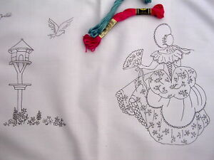 Embroidery Tray Cloth Crinoline Lady & Dovecote cotton with lace edge CS0056