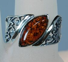 Genuine Baltic Honey Amber Floral Marquise Sterling Silver Ring Size 7