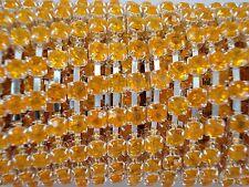 Acrylic 4mm Rhinestone Chain 1m Orange/Silver Costume Sew Dance FREE POSTAGE