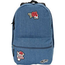 Vans Off the Wall Girls Mini Calico Blue Denim Jean Backpack NWT Logo Patches