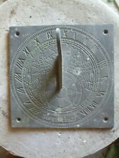 OLD BRASS SUNDIAL WITH ORNATE DECORATIVE GNOMON - SUNNY HOURS