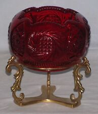 Imperial - Thick Ruby Glass Rose Bowl Vase - Brass Stand - Whirling Star