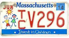 2014 Massachusetts INVEST IN CHILDREN License Plate #TCV296