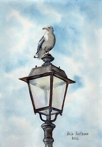 StreetLamp And Seagull original watercolor Gala Kostroma landscape city painting