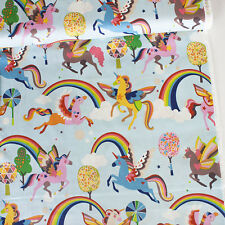 Alexander Henry Fabric Magic Rainbow Shine Sky PER METRE Unicorns Rainbows Fanta