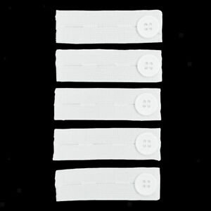 5x White Polyester Elastic Button Extenders for Pants Waist Sewing Fasteners