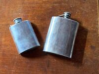 Two Vintage Pewter Flasks Edwin Blyde C. Currey Sheffield Chichester Hip Flask