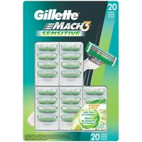 Gillette Mach3 Sensitive Razor Blade Refills, 20 Cartridges (Known as M3 Power)