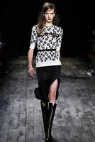 NINA RICCI Cashmere Wool Floral Print Lace Insert Short Sleeve Top Sz S
