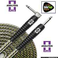 Analysis Plus 10ft Yellow Oval Guitar / Bass Cable with Straight/Angle Plugs