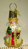 Santa Claus Miniature Blown Glass Ornament White and Gold Glittery