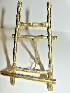 """VTG Brass Bamboo Display Holder Easel Plate Picture Stand 5""""H Solid Brass BEST!"""