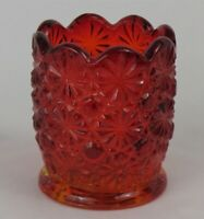 L.G. Wright Ruby Amberina Toothpick/Votive Holder * Daisy Button * Excellent!