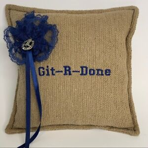 New Git-R-Done ring bearer pillow tan and coral blue