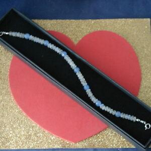 """Bracelet Avec Pierre de Lune Et Opaline Gemmes 8 """" Pouces Long 925 Argent"""