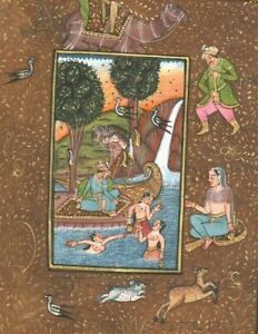 Indian Miniature painting Royal King Queen Love Kamasutra vintage