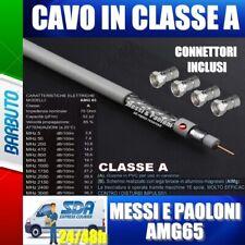 50 METRI DI CAVO TV E SAT AMG65 Messi E Paoloni Diametro 6,5mm + 20 CONNETTORI F
