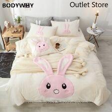 Cartoon Rabbit Bear Embroidery Bedding Set Fleece Fabric Duvet Cover Bed Sheet