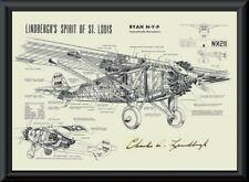 Charles Lindbergh Autograph Reprint Diagram of Ryan-M2 On Fine Linen Paper P049