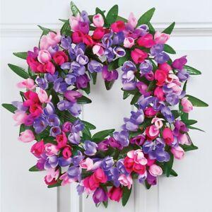 "17"" Diameter Lush Pink and Purple Mini Tulip Springtime Joy Home Door Wreath"