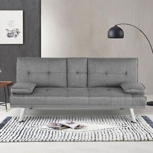 NEW SCANDI STYLE FABRIC GREY Modern Luxury Design Sofa Bed recliner 3 Seater