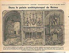 Ruines du palais archiépiscopal du Tau Reims salle du trésor Champagne WWI 1915