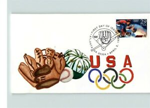 Hand Painted OLYMPIC BASEBALL, C.W. Ray Hand Painted 1992 First Day of Issue