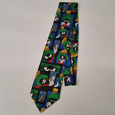 Looney Toons Stamp Collection Bugs Bunny & Marvin the Martian Neck Tie - 1997