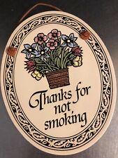 Spooner Creek VTG No Smoking Plaque Made Wisconsin USA Wall Hanging Stoneware