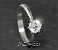 Diamant Solitär 585 Gold Brillant Ring mit 1,02ct, H, Si; 14 Karat Weißgold NEU