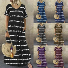 Women Summer Long Maxi Dress Ruffle Sleeve Striped Print Casual Beach Plus Size