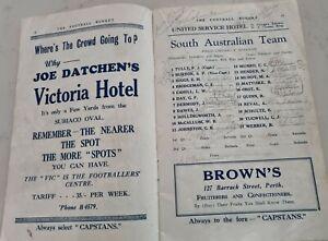 1936 SIGNED SA V WA FOOTBALL BUDGET INC BOB QUINN PORT ADELAIDE AFL SANFL WAFL