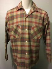 Vtg 50s 60s NOS Shadow Plaid Flannel Shirt Mens M Loop Collar Rockabilly Atomic