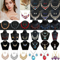 Fashion Women Jewelry Crystal Choker Chunky Statement Bib Pendant Necklace Chain