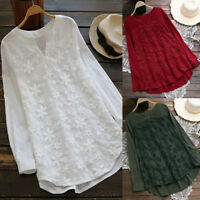 Women Floral Lace Linen Embroidery Long Sleeve Baggy Tops Shirt Blouse Tunic Top