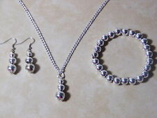 Necklace Bracelet Earrings Bead Jewelry Sets New Silver Acrylic Silver Plated