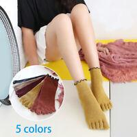 Toe Socks Cute Five Finger Short Ruffer Socks for Girl Frilly Kawaii Sock