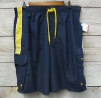 Beverly Hills Polo Club Swim Mens Large Blue Yellow Cargo Swim Trunk Shorts New