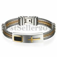 Mens Stainless Steel Religious Cross ID Bracelet Cuff Bangle Cable Rope Chain