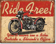 RIDE FREE Metal Sign GARAGE Man Cave WALL DECOR Motorcycle VINTAGE STYLE Retro