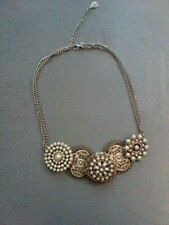 Beautiful Accessorize necklace with silver coloured filigree and pearl stones