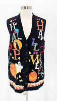 TIARA INTERNATIONAL Womens Black Knit Happy Halloween Sweater Vest Skeleton Sz M